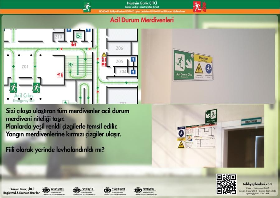 ISO 23601 Acil Durum ve Yangın Tahliye Planları acil durum Merdivenleri
