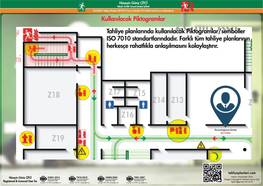 ISO 23601 Acil Durum ve Yangın Tahliye Planları ISO 7010 Semboller