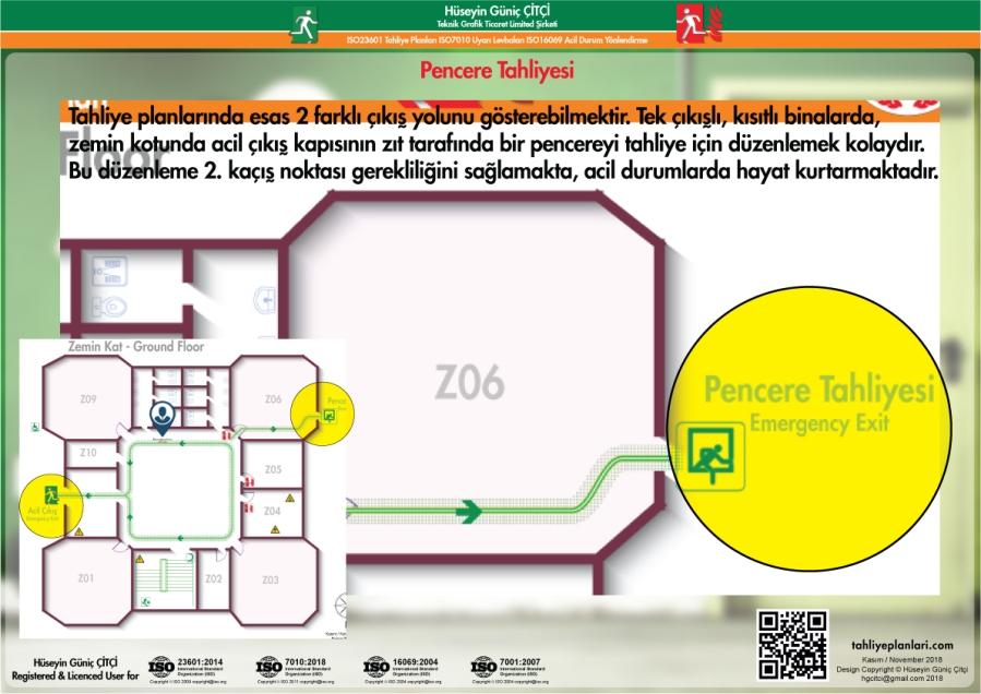 ISO 23601 Acil Durum ve Yangın Tahliye Planları Pencere Tahliyesi