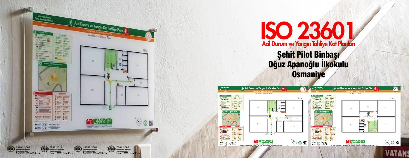 ISO 23601 Acil Durum Ve Yangın Tahliye Kat Planları Osmaniye Şehit Pilot Binbaşı Oğuz Apanoğlu İlkokulu