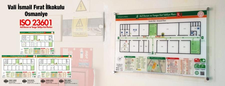 ISO 23601 Acil Durum Ve Yangın Tahliye Kat Planları Osmaniye Vali İsmail Fırat İlkokulu