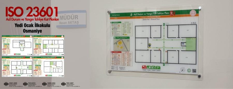 ISO 23601 Acil Durum Ve Yangın Tahliye Kat Planları Osmaniye Yedi Ocak İlkokulu