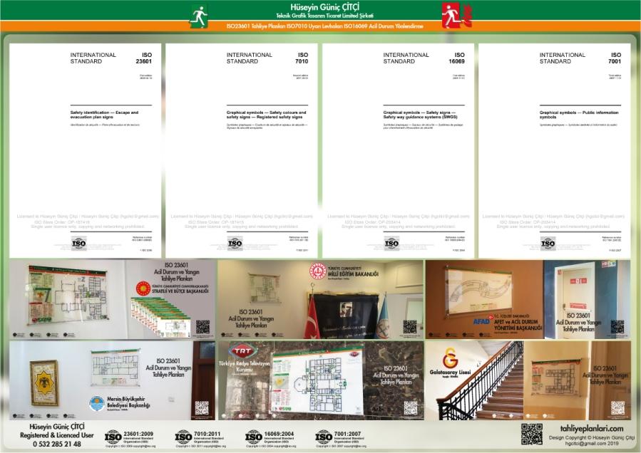 ISO 23601 Acil Durum ve Yangın Tahliye Planları ISO 7010 Uyarı Levhaları ISO 16069 Acil Durum Yönlendirmeleri ISO lisans