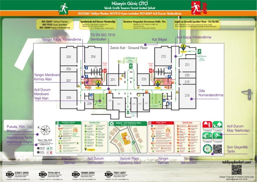 098 Kat Tahliye Plani Unsurlari 03 ISO 23601 Acil Durum Tahliye ve Yangın Tahliye Kat Planları
