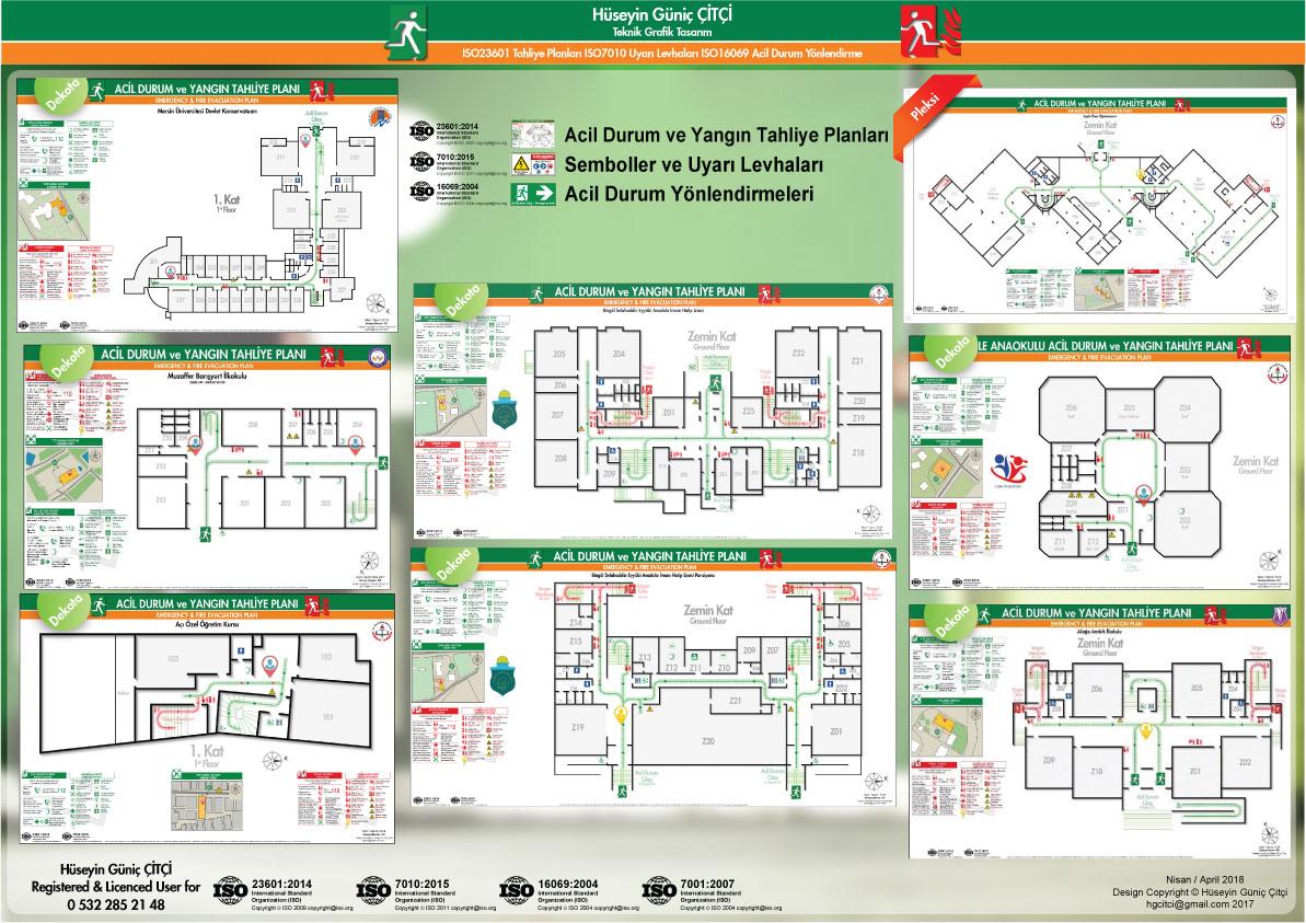 ISO 23601 Acil Durum ve Yangın Tahliye Planları ISO 7010 Uyarı Levhaları ISO 16069 Acil Durum Yönlendirmeleri 003