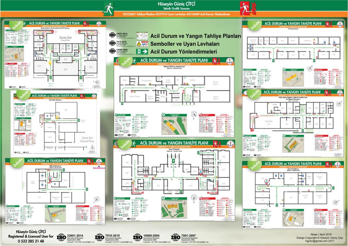 ISO 23601 Acil Durum ve Yangın Tahliye Planları ISO 7010 Uyarı Levhaları ISO 16069 Acil Durum Yönlendirmeleri 004