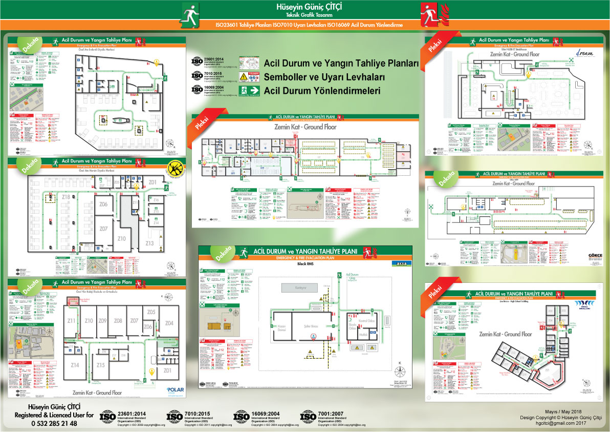 ISO 23601 Acil Durum ve Yangın Tahliye Planları ISO 7010 Uyarı Levhaları ISO 16069 Acil Durum Yönlendirmeleri 005