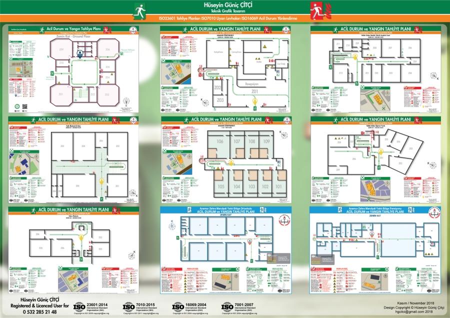 ISO 23601 Acil Durum ve Yangın Tahliye Planları ISO 7010 Uyarı Levhaları ISO 16069 Acil Durum Yönlendirmeleri 007