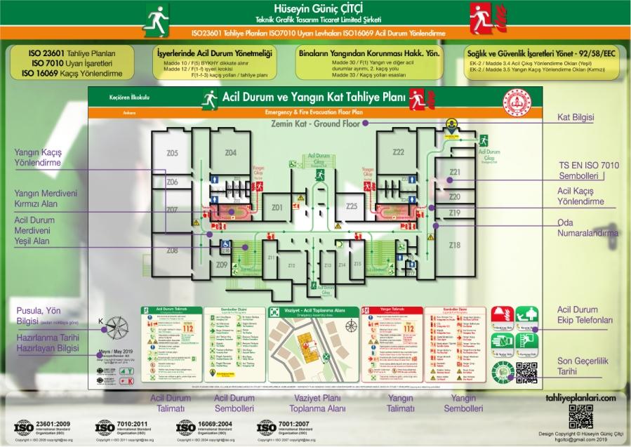 ISO 23601 Acil Durum ve Yangın Tahliye Kat Planları Unsurlari