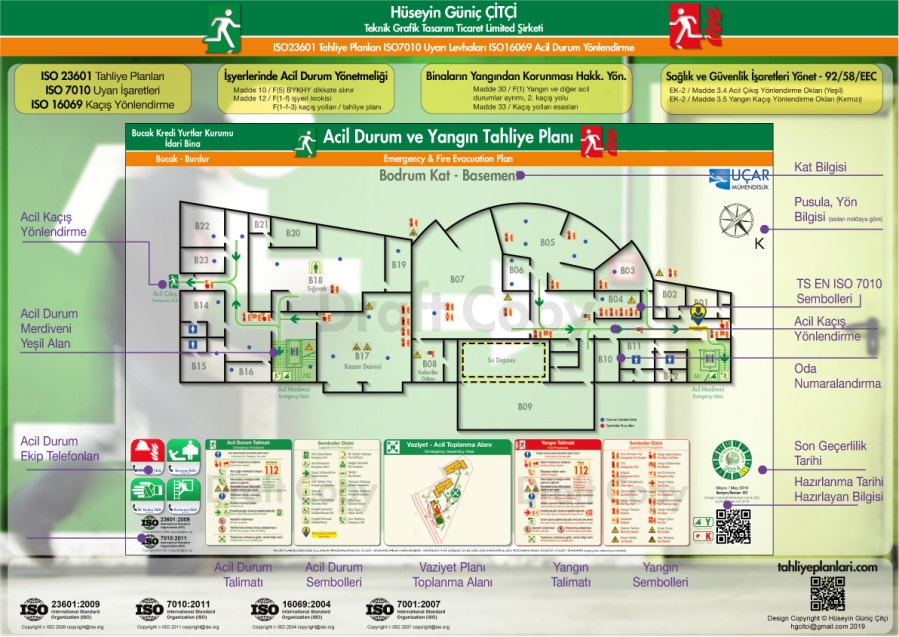 Burdur Bucak Kredi Yurtlar Kurumu Sosyal Tesis ISO 23601 Acil Durum ve Yangın Tahliye Kat Planları