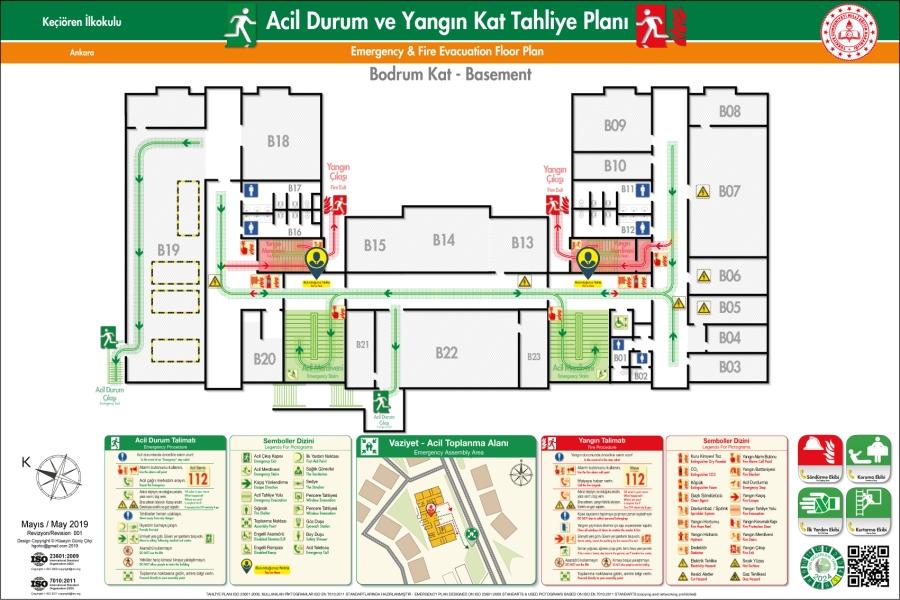 ISO 23601 Acil Durum ve Yangın Tahliye Kat Planı