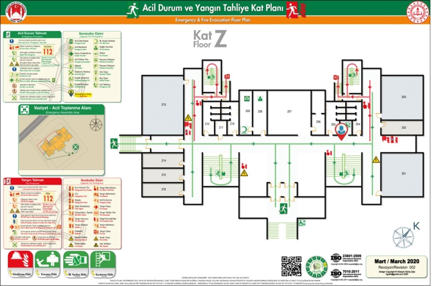 Ahi Evran iho Binası ISO 23601 Acil Durum Tahliye ve Yangın Tahliye Kat Planları