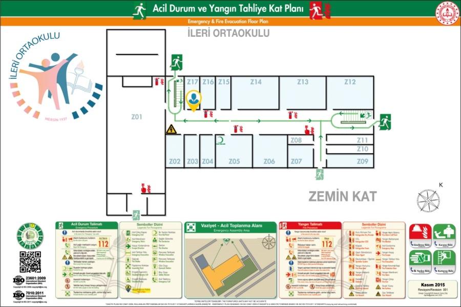 İleri Ortaokulu Binası ISO 23601 Acil Durum Tahliye ve Yangın Tahliye Kat Planları