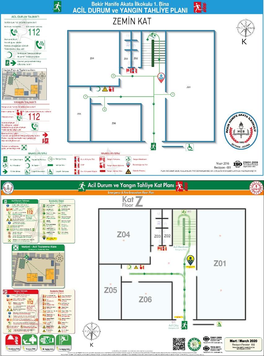 TP Adana Bekir Hanife Akata İlkokulu ISO 23601 Acil Durum ve Yangın Tahliye Kat Planları