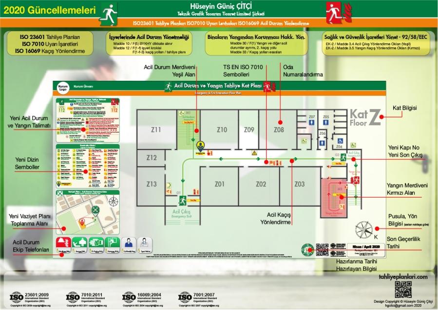 2020 Güncelleme ISO 23601 Acil Durum ve Yangın Tahliye Planları Kat Tahliye Plani Unsurlari